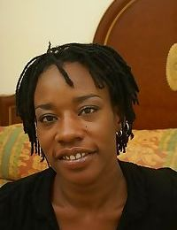 Mature ebony Cat is undressing her lingerie and playing with tits