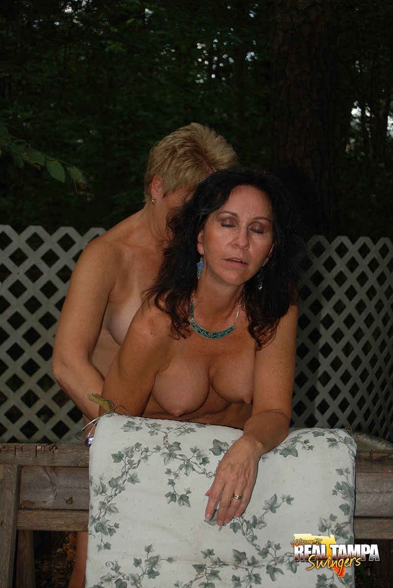 Hot mature MILF Tracy Lick fucking doggystyle with strapon in the back yard - part 2
