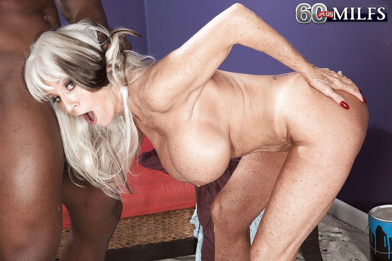 Horny older Sally DAngelo enoys big cock hanjob & interracial doggystyle fuck