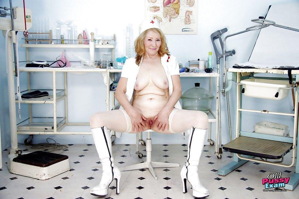 Fatty granny in stockings has no lingerie under her nurse uniform