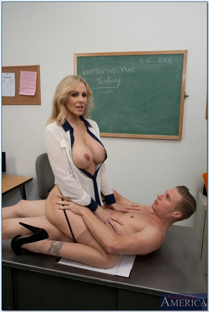 Slutty mature teacher Julia Ann sucks and fucks a students cock - part 2