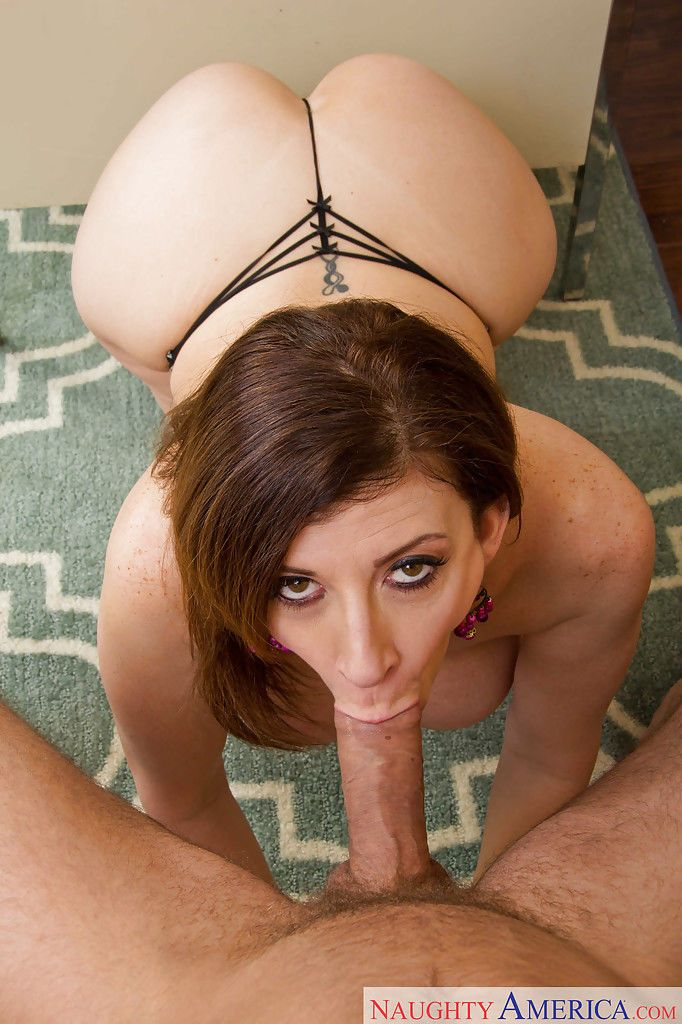Slender brunette Sara Jay is getting a good dong in her wide mouth