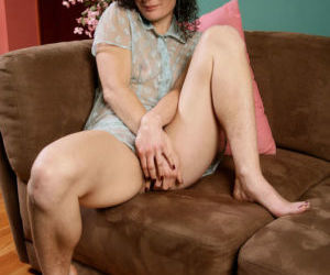 Middle-aged hirsute female Sunshine just loves to show off..