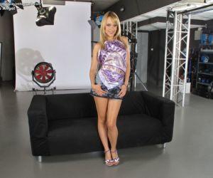 Hot blonde Blue Angel in heels on her knees spreading wide..