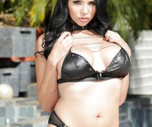 Astonishing brunette Missy Martinez poses very hot on the..