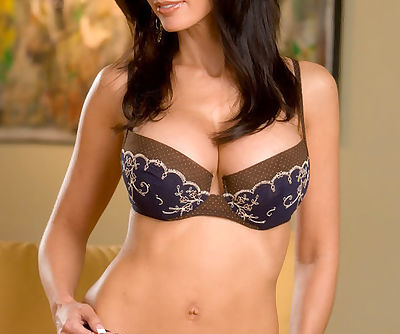 Stunning brunette gently takes..