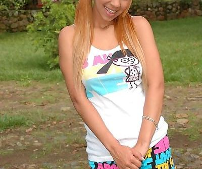 Pig-tailed teen latina with dyed..