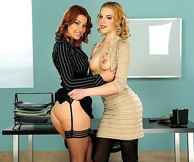 Glamorous girls make office sex doubly hot with anal dildo play
