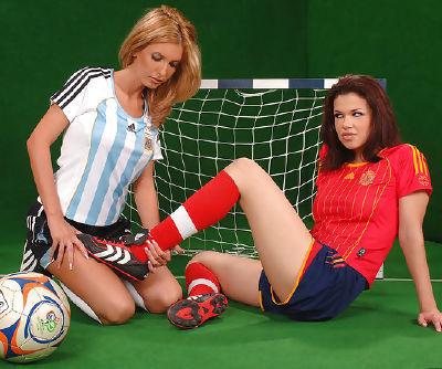 Sporty babe Virginee in red socks..