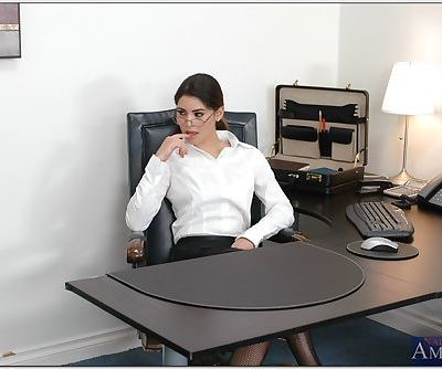 Sizzling office secretary Paola Rey stripped to stockings and fucked