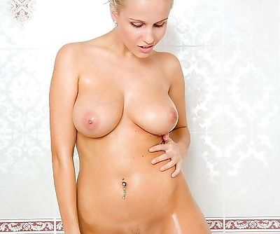 Christa- blonde- nude- bath tub-..