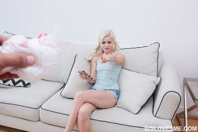 Flat chested young teen Elsa Jean gets BBC doggystyle and a mouthful of cum