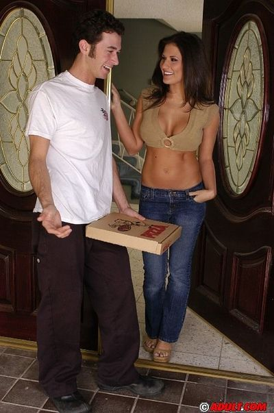 Ravishing cougar with flawless tits has some fun with a big cock pizza-lad