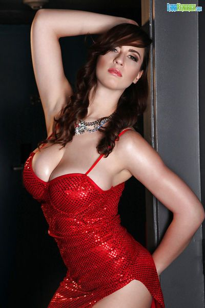 Leggy babe Lana Kedrick modelling fully clothed in dress for centerfold