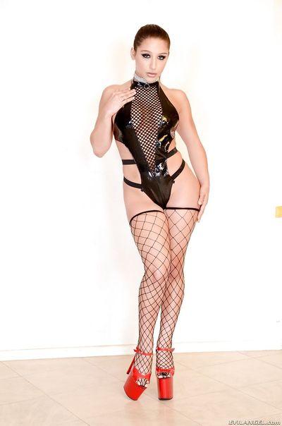 Lezdom sluts Anikka Albrite & Abella Danger in latex & heels posing non nude