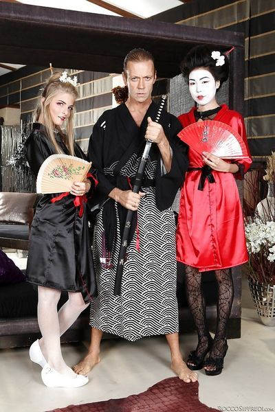 Luscious geishas have a fervent threesome with a well-hung samurai