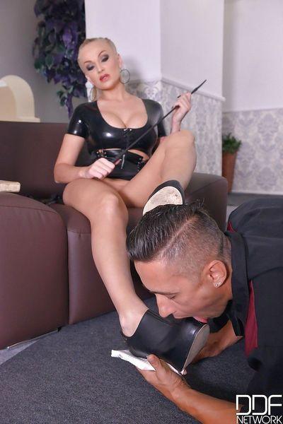 Long legged blond Mistress Kayla Green letting male sex slave fuck her asshole