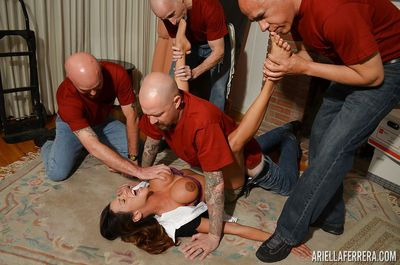 Big titted Ariella Ferrera endureing rough bondage fucking in hot gangbang
