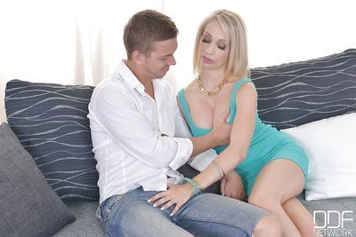 Busty European blonde Chessie Kay fucked by two big cock during MMF 3some