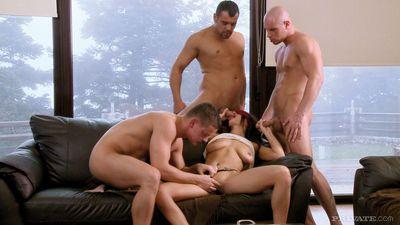 Blindfolded pornstar fucks and sucks 3 guys at the same time