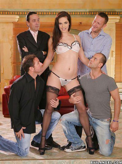 Blue-eyed milf in stockings Bobbi Starr gets gangbanged by four men