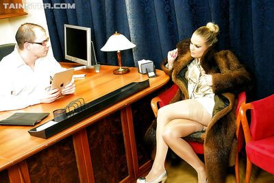 European lady Barra Brass enjoys fully clothed FFM groupsex with her friends