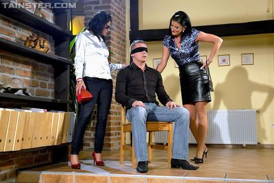 Slutty MILFs are into CFNM threesome with blindfolded guy