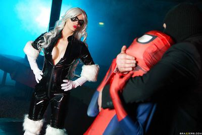 Busty blonde Mila Milan taking hardcore doggy sex in latex cosplay outfit