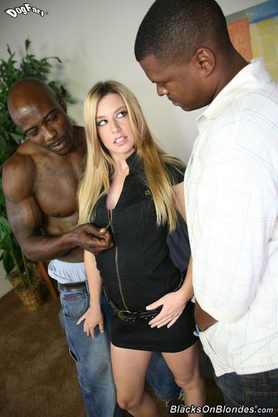 Jessi Volt gets her pretty face drenched in jizz after an interracial DP