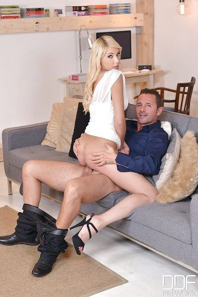 European slut Kimber Delice taking blowbang from big cocks after gangbang