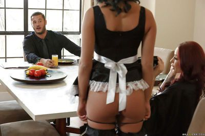 French maid watches tattooed wife deepthroat husband\\\