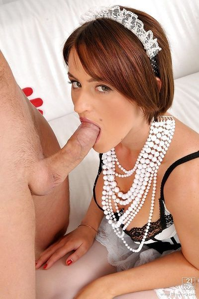 Horny maid in uniform Lindie gets her ass stretched with a cock and toys