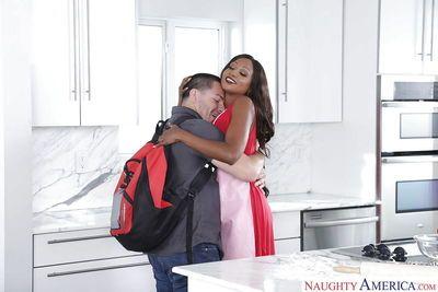 Busty ebony maid Diamond Jackson giving ball licking BJ in kitchen