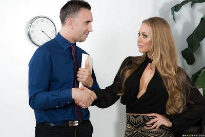 Blonde secretary Nicole Aniston fucking her boss to ease work related stress