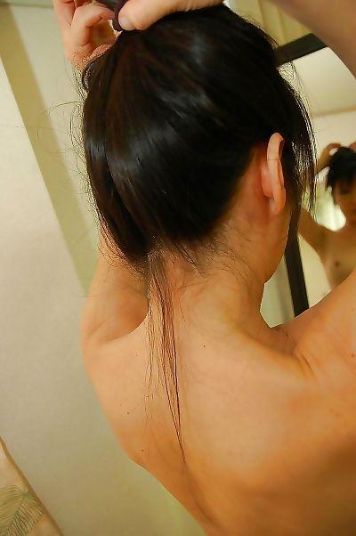 Asian gal with hard nipples Harue Nomura taking shower and bath