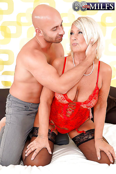 European granny riding large cock in black stockings and lingeri - part 2689