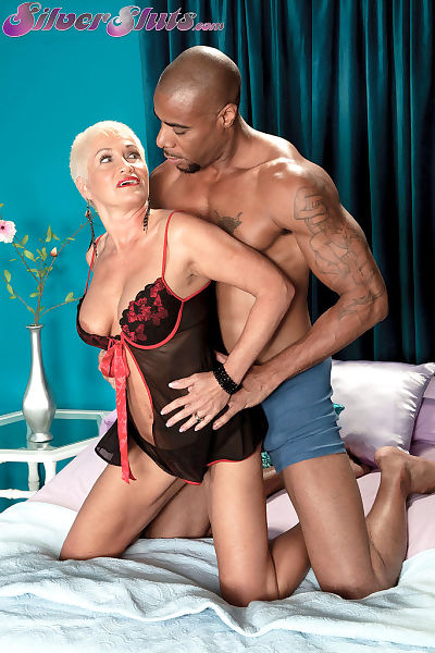 Sexy grandmother Trinity Powers lives out her fantasy of banging a black man
