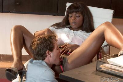 Hot ebony Ana Foxxx in skirt gets pussy lick & mouthful in reality office sex