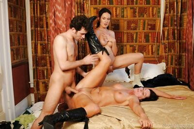 Steaming hot mature brunettes are into threesome groupsex with a lucky guy