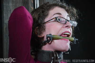 Rubenesque chick finds herself restrained and gagged in a perverts dungeon