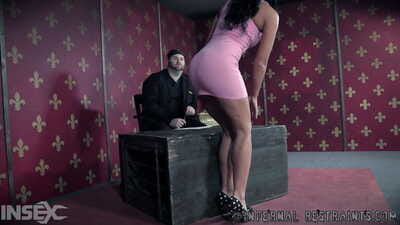 Brunette female London River finds herself being fisted while restrained