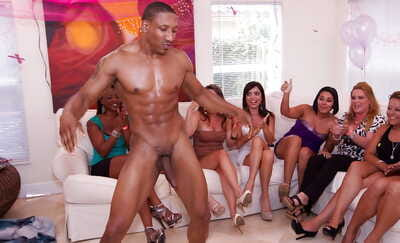 Cock hungry babes having fun with male strippers at hte sex party