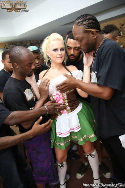 Big boobed serving girl Alena Crof gets on her knees for interracial blowbang