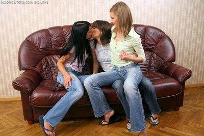 Beautiful teens in torrid lesbian threesome