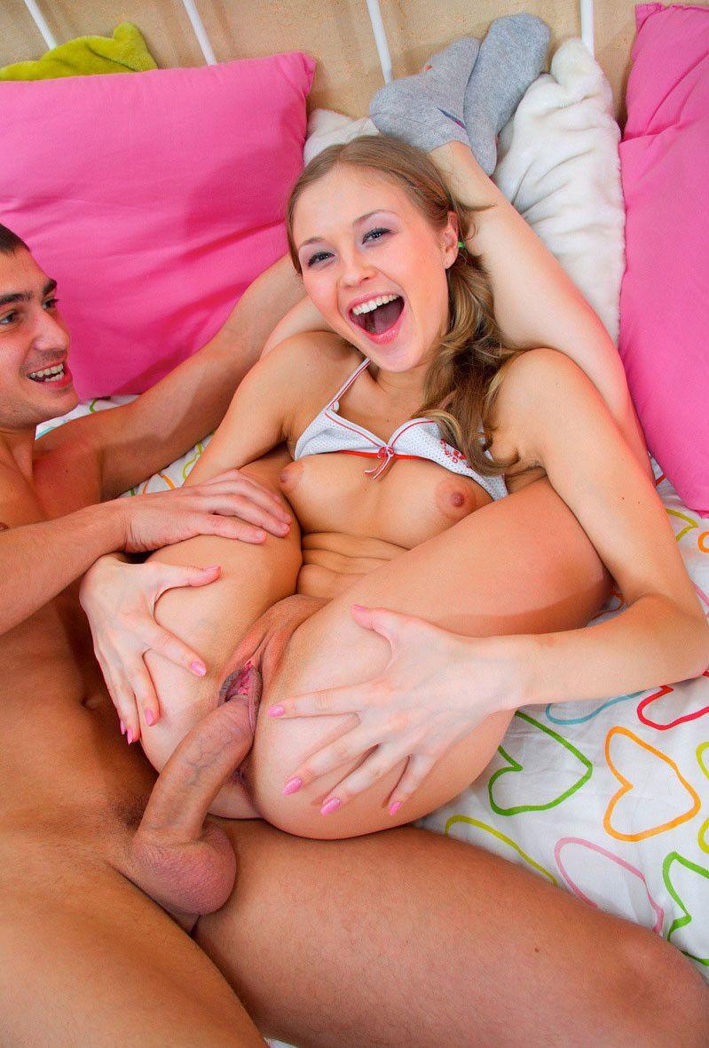 Cute flexible teenie taking on a hard massive cock