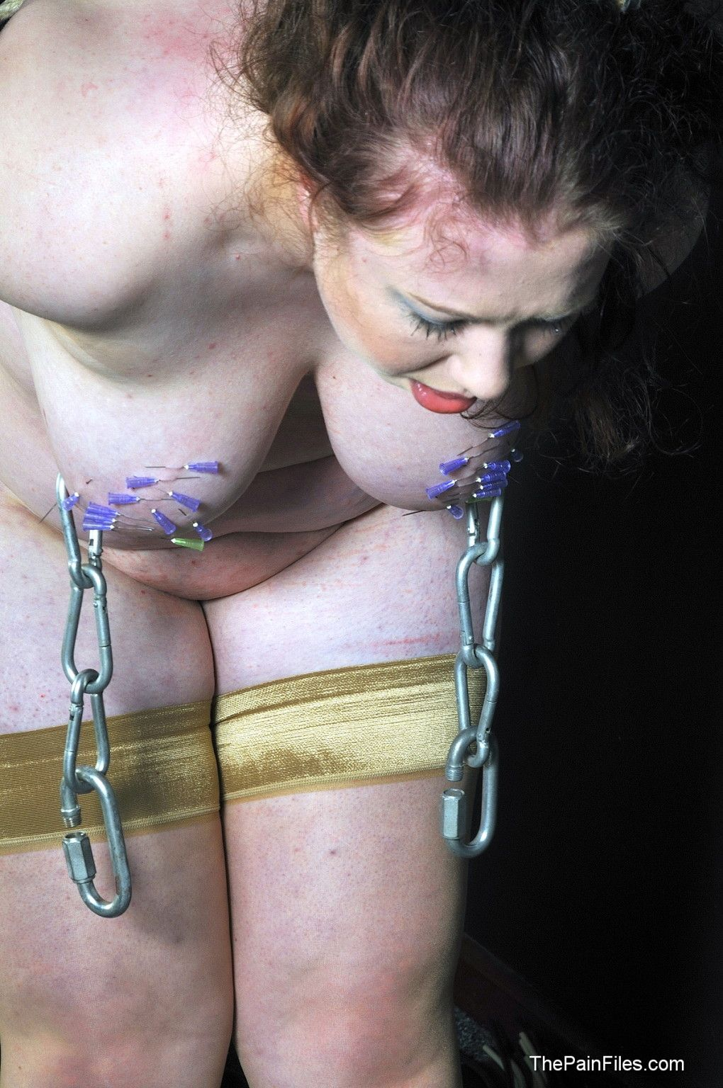 Amateur needle bdsm and extreme tit torture of bbw slavegirl rosieb in hardcore