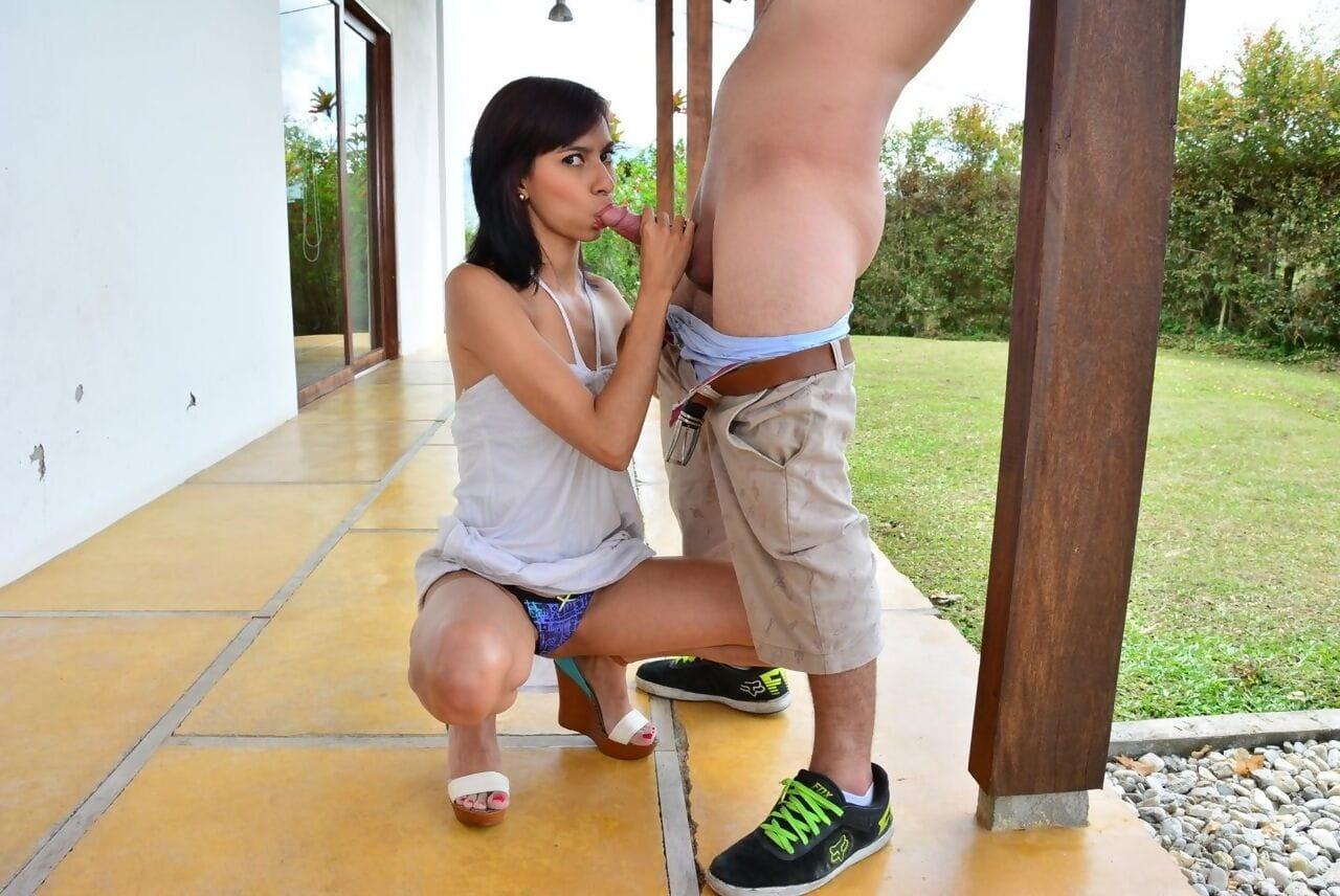 Skinny Latina brunette Ximena Soto sucks and gets fucked outdoors