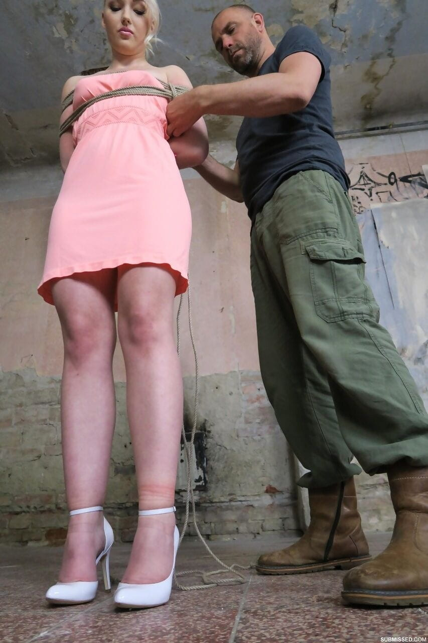 Teen sub Lovita Fate gets toyed while tied & ball gagged in harsh BDSM action