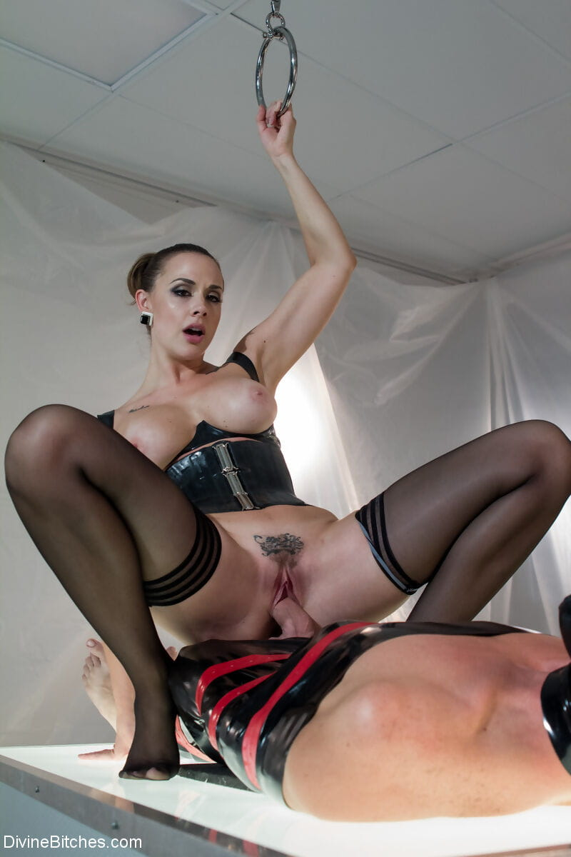 Sultry Chanel Preston dominates & rides the cock of her tied up slave in BDSM