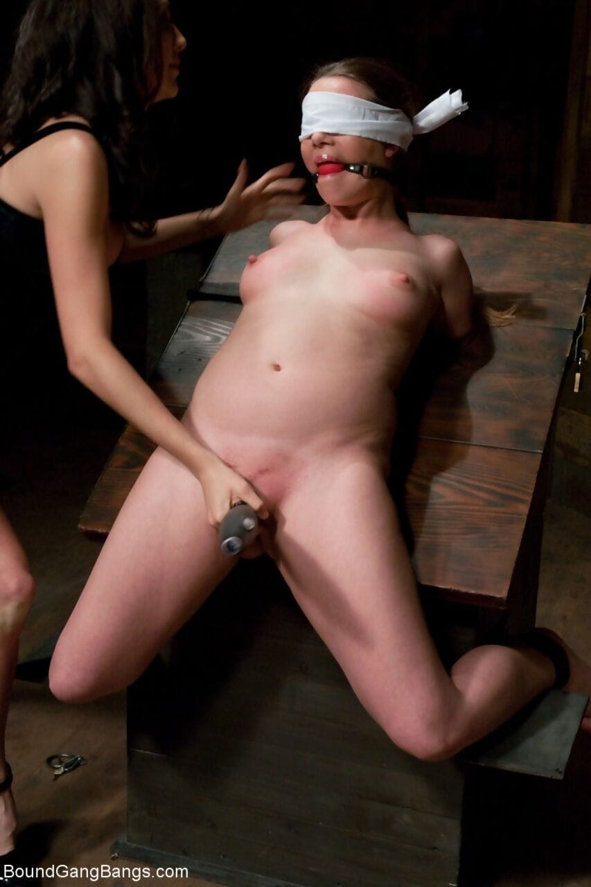 Blindfolded MILF Princess Donna Dolore with ball gag surrounded by BDSM fans